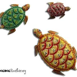 Trio of beautifully painted Haiti turtles
