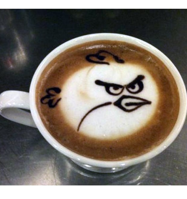 Angry bird Haitian coffee latte