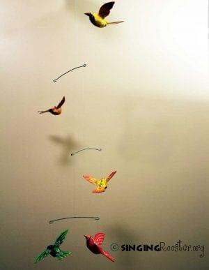 Paper Mache Bird Mobile