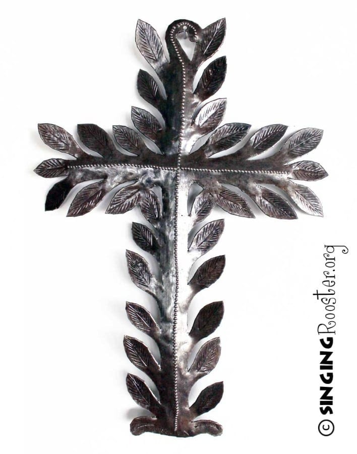 Vine Cross, Haitian art, recycled metal