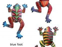Haitian metal wall art frogs