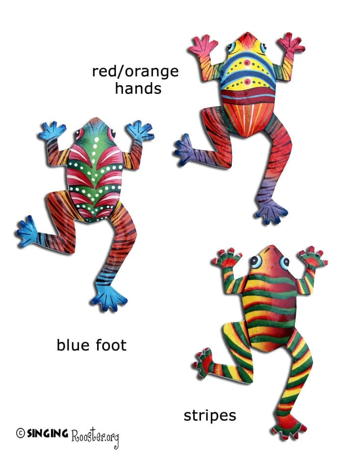 Three frogs, metal art from Haiti.