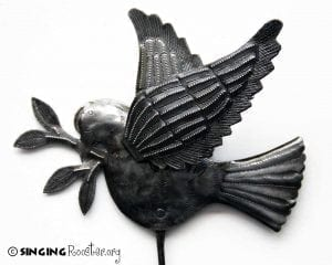 Haitian art, recycled metal garden stakes