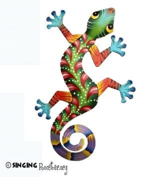 Haitian metal wall art gecko lizard