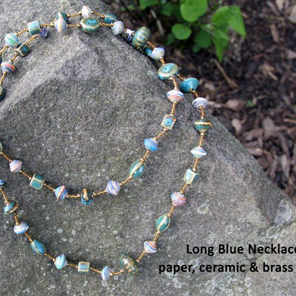blue necklace, Fair trade jewelry, Haiti