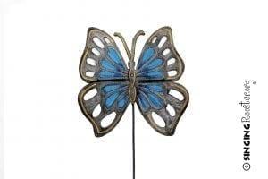 butterfly garden stake blue
