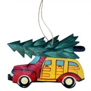 metal Christmas tree car ornament, Singing Rooster