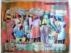 Chair head Haitian painting, Singing Rooster