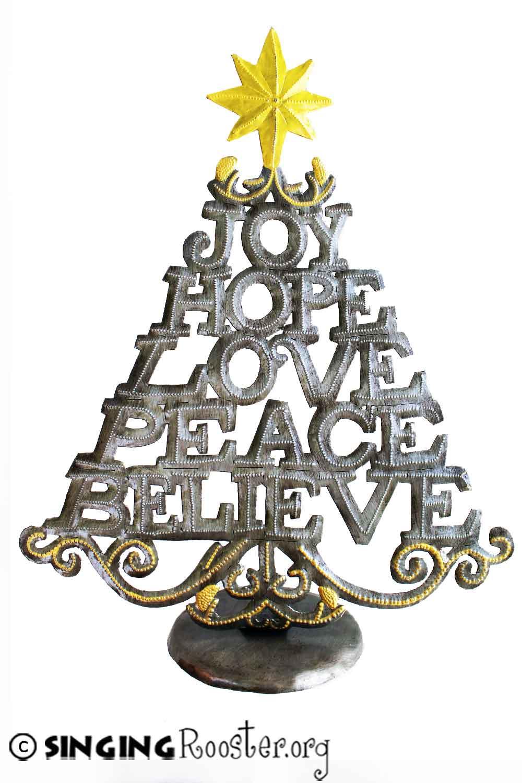 christmas tree word art sculpture