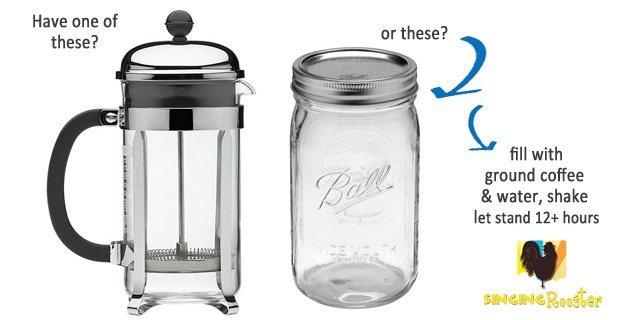 cold brew coffee in a jar