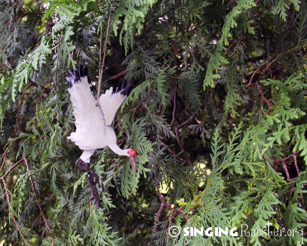 Christmas whooping crane ornaments