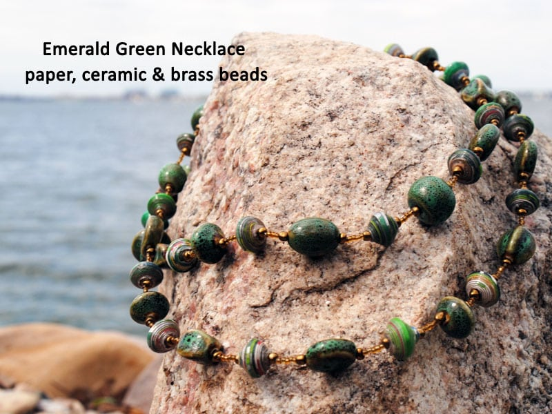 green necklace, Fair trade jewelry, Haiti