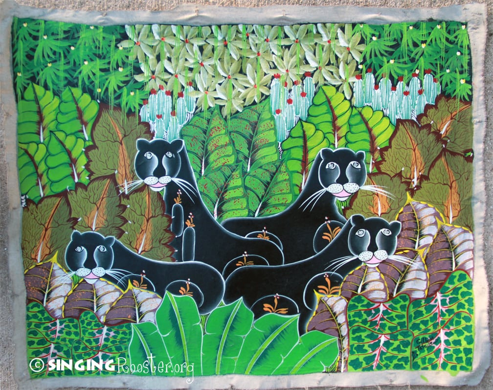 Buy Jungle Cats Haitian Painting Online From Singing Rooster Org
