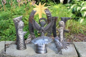 Love metal sculpture nativity