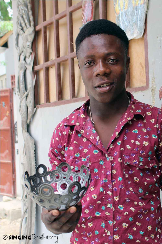 Haitian artist, metal bowl