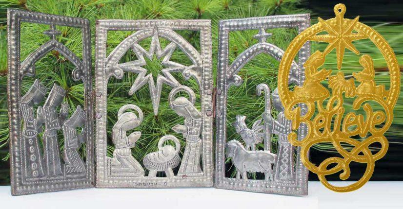 triptych metal nativity