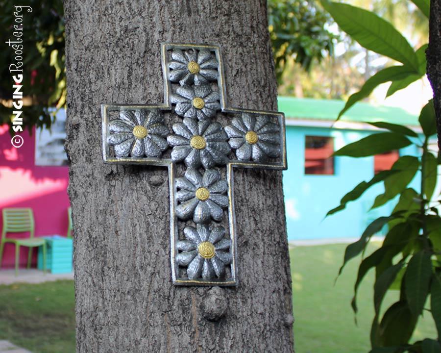 oil drum flower cross