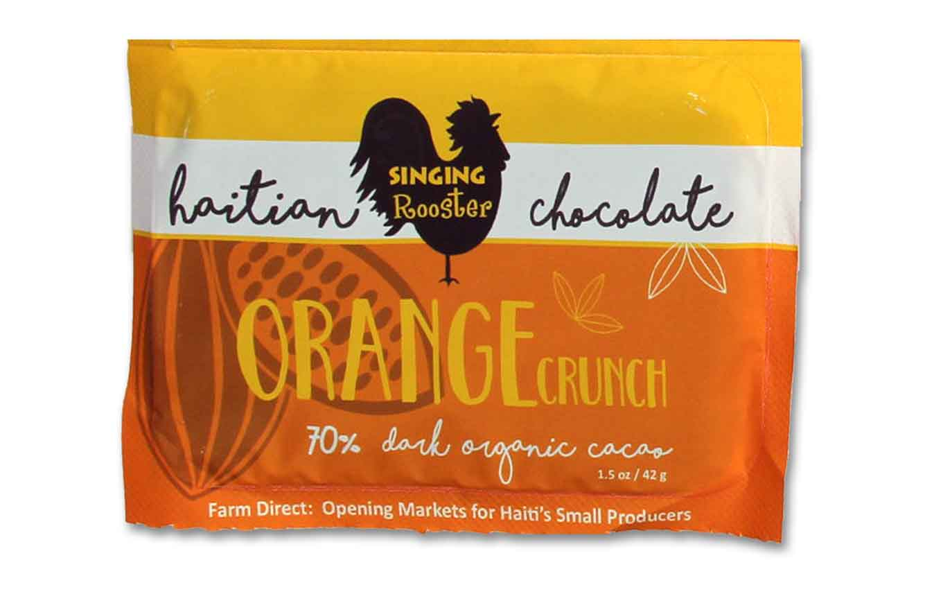 Orange crunch Haitian Chocolate Bar, Singing Rooster