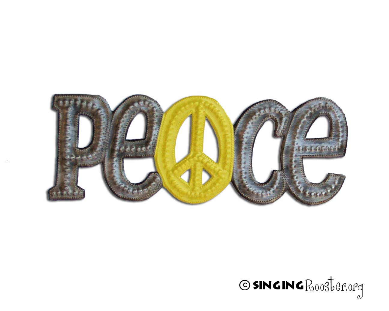 Peace Metal Word Art, Haiti. Fair Trade Federation Singing Rooster