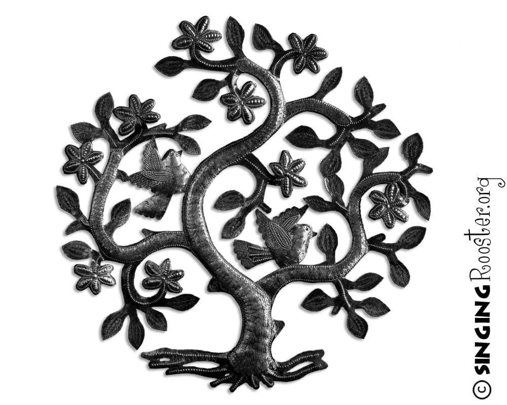 Tree Of Life Metal Wall Art Tree Of Life 17″  Direct Trade Haitian Coffee Art Chocolate