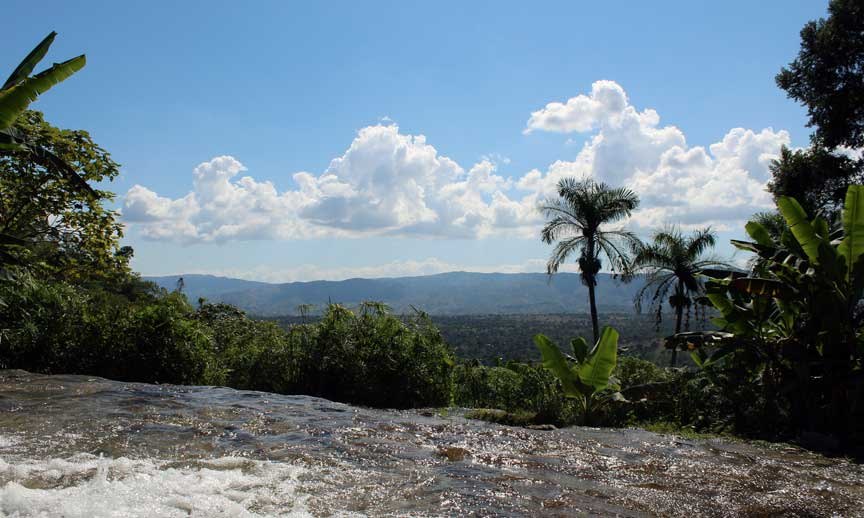 view saut eau waterfall haiti