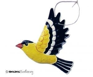 buy yellow finch bird Christmas ornaments online, Haiti